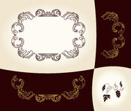 Grapes vintage frame baroque ancient Stock Image