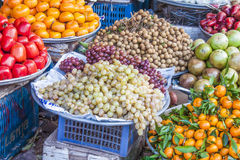 Grapes Vitis vinifera market Royalty Free Stock Photos