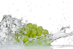Grapes with water splash Stock Photos