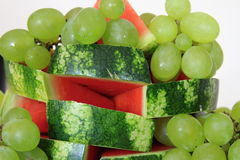 Grapes and watermelon Stock Images