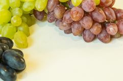 Grapes. White, pink and dark blue on a white background Stock Images