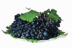 Grapes on a white plate with green leaves Royalty Free Stock Images