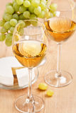 Grapes and white wine. Still-life with bunch of grapes and white wine stock photo