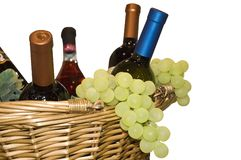 Grapes and wine. In a basket Stock Photography