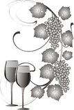 Grapes and wine. Illustration with grapes and wine glasses on white background Stock Image