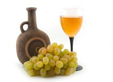 Grapes and wine. Grapes and bottle fault on white background Royalty Free Stock Photos