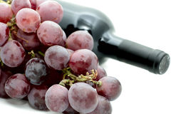 Grapes and wine bottle. Closeup of a bunch of red grapes with a wine bottle in background Stock Photography