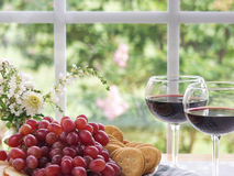 Grapes, Wine and Bread Still Life Stock Image