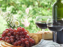 Grapes, Wine and Bread Still Life Al Fresco Stock Photo