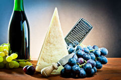 Grapes, wine and cheese Stock Photo