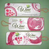 Grapes or Wine concept design. Set of stickers Stock Images