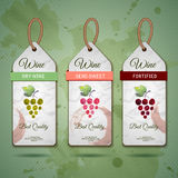 Grapes or Wine concept design. Set of stickers Royalty Free Stock Images