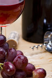 Grapes and wine detail. Detail of glass of red wine with freshly washed juicy grapes Royalty Free Stock Photography