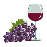 Grapes and a wine glass Stock Images