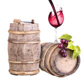 Grapes with wine glass and wooden vintage barrel Stock Photo