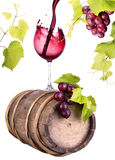 Grapes with wine glass and wooden vintage barrel Royalty Free Stock Images