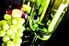 Grapes and wine glasses Stock Photo