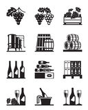 Grapes and wine icon set Royalty Free Stock Photography