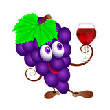 Grapes and  wineglass. Funny cartoon bunch of juicy purple grape fruit character with  wine glass Stock Photography