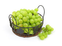 Grapes Wire Leaf Basket Clusters on Side Stock Images