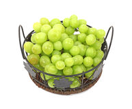 Grapes Wire Leaf Basket Overhead View Stock Image