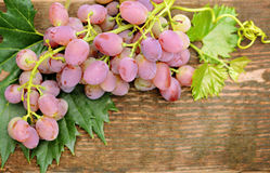Grapes on wood Stock Photography
