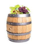 Grapes on wooden barrel Royalty Free Stock Photography