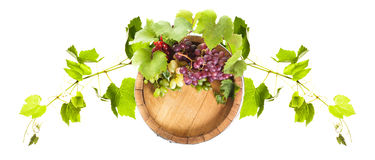 Grapes on wooden barrel Royalty Free Stock Image