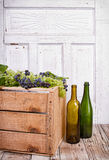 Grapes on wooden crate Royalty Free Stock Images