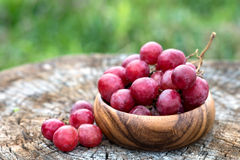 Grapes in wooden plate outdoor in the garden stock photos