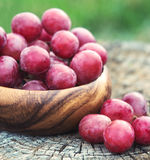 Grapes in wooden plate outdoor in the garden stock image