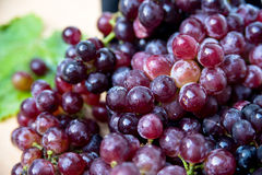 Grapes on a wooden tray Stock Images