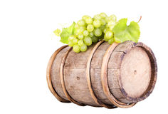 Grapes and wooden vintage barrel Stock Photo