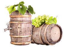 Grapes and wooden vintage barrel Stock Image