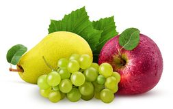 Grapes yellow pear and red apple with leaf. Isolated on white background. Clipping Path. Full depth of field Stock Image