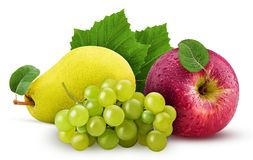 Grapes yellow pear and red apple with leaf. Isolated on white background. Clipping Path. Full depth of field Royalty Free Stock Photo