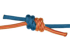 Grapevine knot, blue and orange rope. Royalty Free Stock Photo