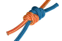 Grapevine knot, blue and orange rope. Stock Photography