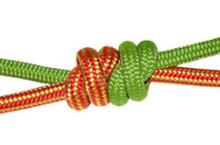 Grapevine knot, green and orange rope. Royalty Free Stock Photography