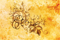 Grapevine leaves and text and ornament with fire flames. Drawing on paper. Royalty Free Stock Images