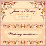 Grapevine Wedding Invitation. Vintage Elegant Design. Royalty Free Stock Images