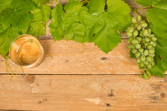 Grapewine background on wooden table Royalty Free Stock Photo