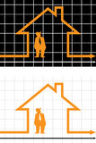 Graph. Businessman under protection of a diagram house Stock Photo