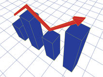 Graph. Vector illustration of a blue graph with red arrow Stock Image