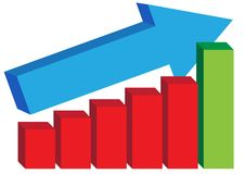 Graph. Illustration of graph with red and green columns and blue arrow - Vector royalty free illustration