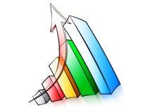 Graph. An arrow moving up over a graph Stock Photos
