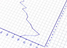 Graph. With trend line tending upwards royalty free stock image
