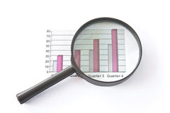 Graph. Magnifying glass on business graph Stock Image