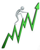 Graph. 3D image of a character climbing a graph Stock Image