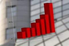 Graph. Red business graph with building in background royalty free illustration